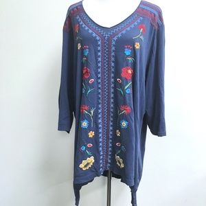 Johnny Was JWLA blue embroidered tunic top v neck